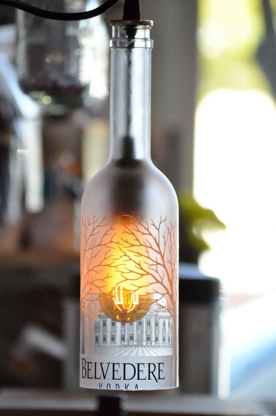 """Bottle Lamp Vodka Bottle - I'd love to make these for around our patio when it's finished being """"finished off"""" with vinyl all around it."""