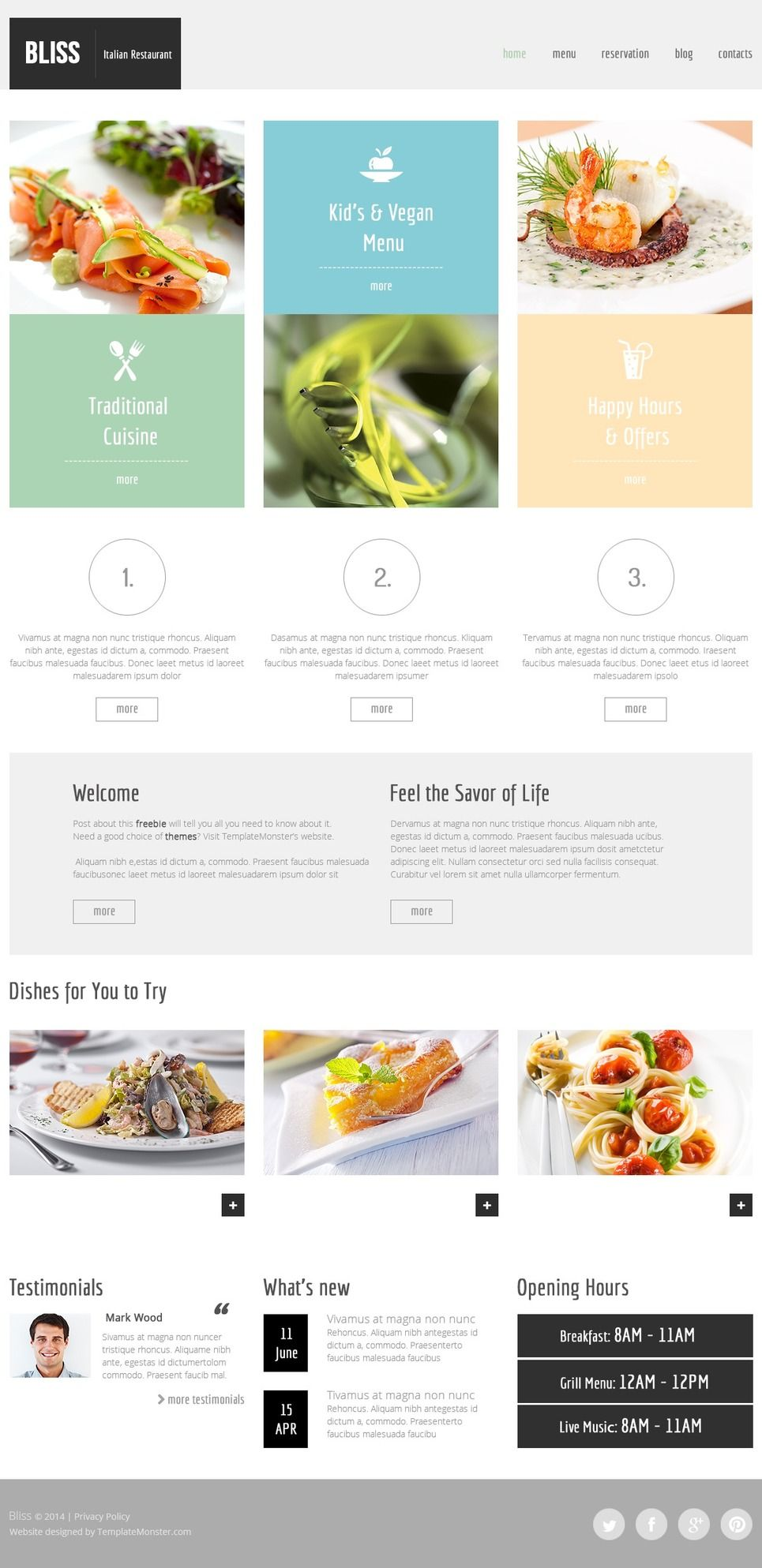 Free Html5 Theme For Restaurant Website Http Www Templatemonster