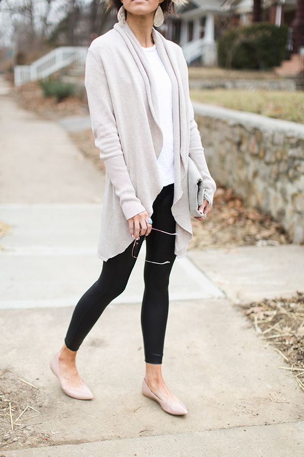 616524c8d224 cardigan, leather leggings, nude flats, spanx, white tee, leather earrings