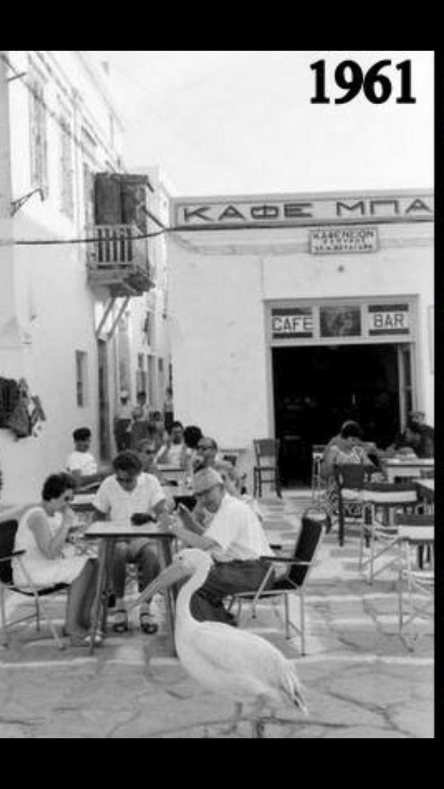 Mykonos seafront ,a traditional ''cafénio'' 1961