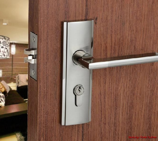 Door Locks Front Interior Minimalist Stainless Steel Single Latch