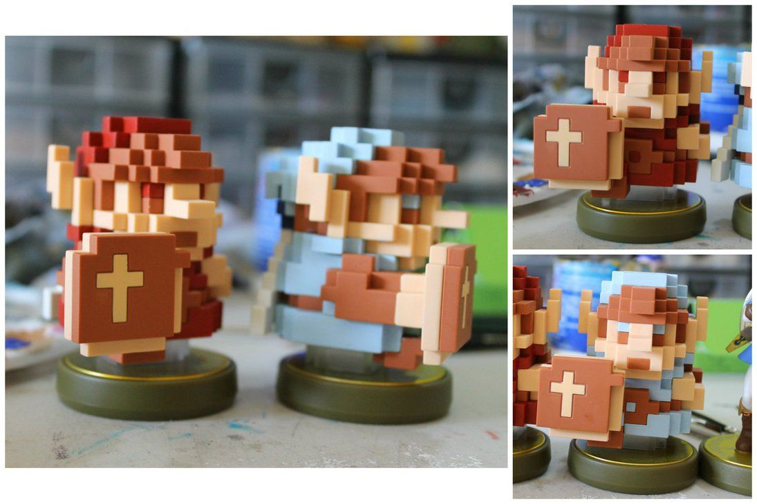 Custom 8 Bit Link Amiibo | Red and Blue Rings by PixelCollie