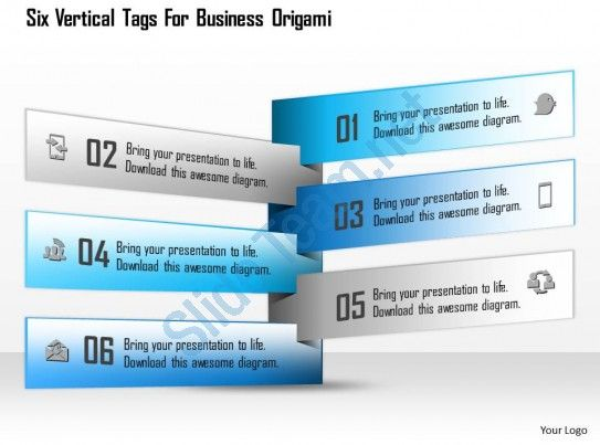 1114 six vertical tags for business origami powerpoint template buy highest quality predesigned 1114 six vertical tags for business origami powerpoint template ppt templates ppt slide designs and presentation graphics toneelgroepblik Images