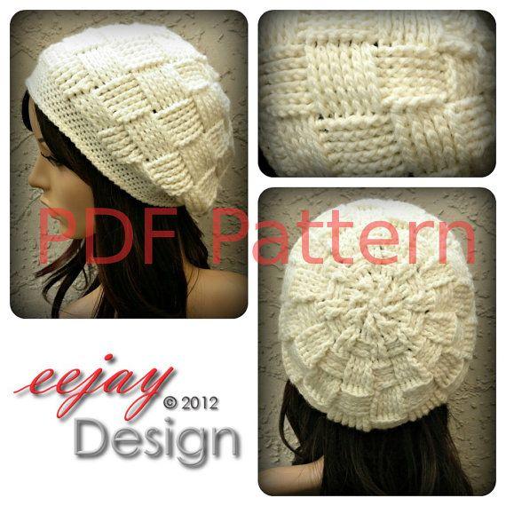 Pdf Crochet Hat Pattern Womens Basketweave Slouchy Beret Beanie By