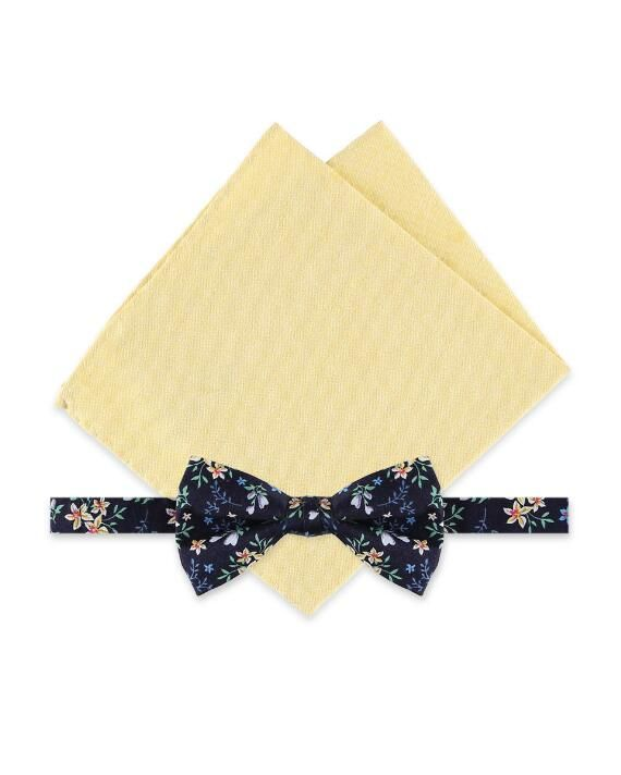 Rooster Cluster Floral Bow Tie & Solid Pocket Square Set | cotton