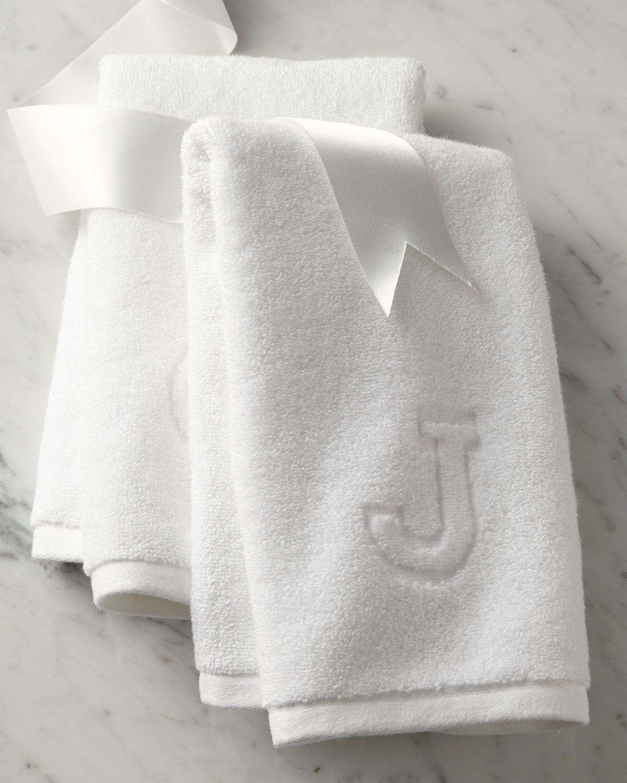 Monogram bathroom towels - Auberge Monogrammed Hand Towel White Matouk