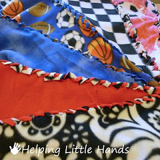 I just used this tutorial to make a tie blanket (more like a braided blanket).  I think its a great design and I can get it to lay flatter than a regular tie blanket.