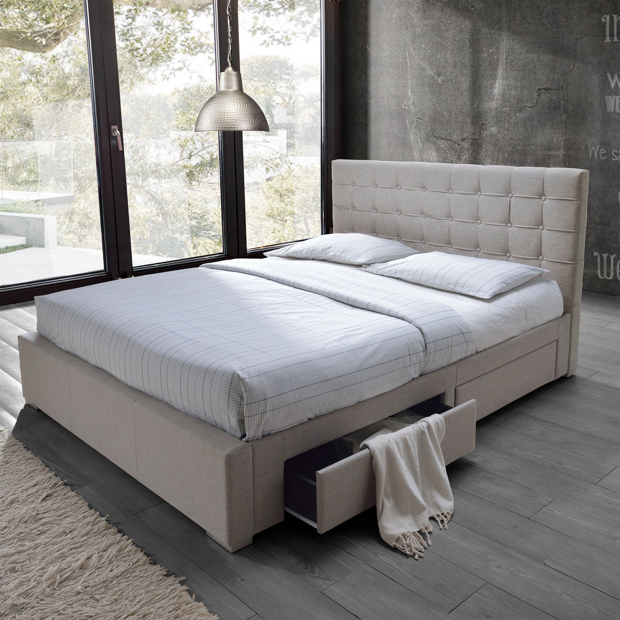 Best Baxton Studio Adonis Modern And Contemporary Beige Fabric 400 x 300