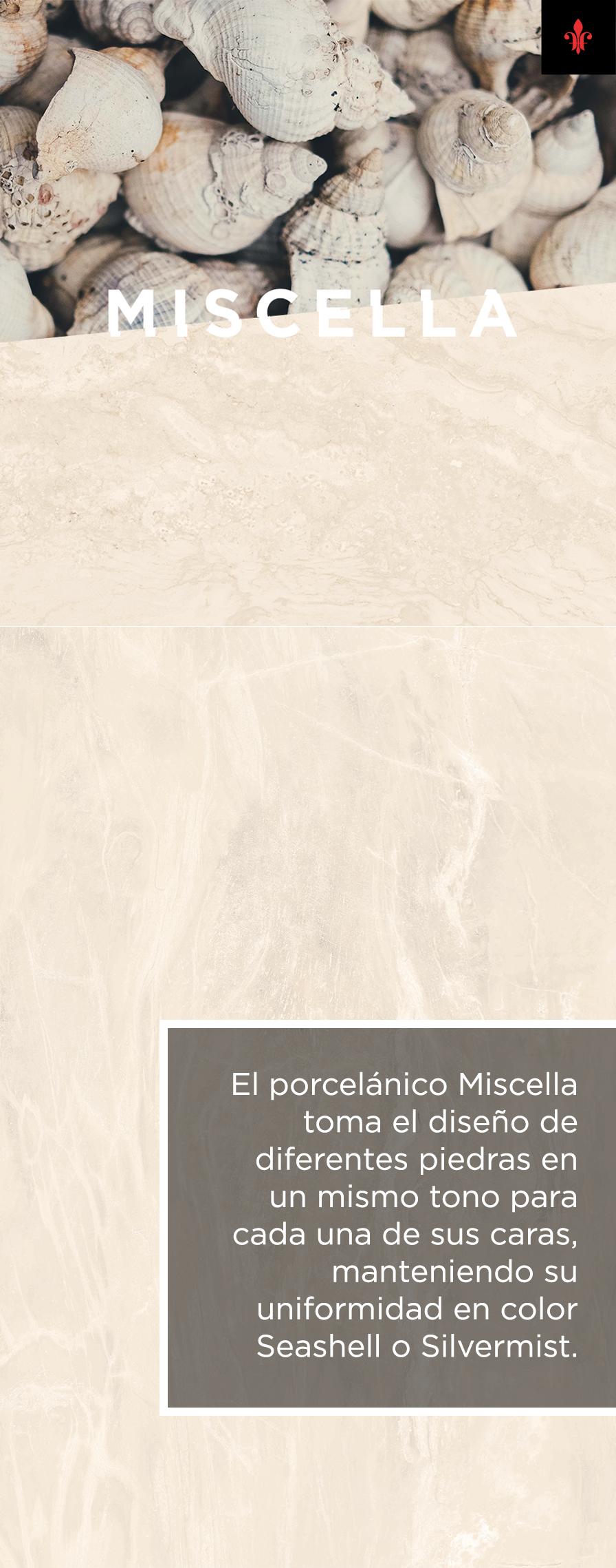 El porcelánico Miscella es una pieza que cuida cada detalle. Sus finas vetas toman diseños marmoleados de diversas piedras que, a la vez, se unifican por su fluidez y tono árido haciendo referencia a la arena y el mar.