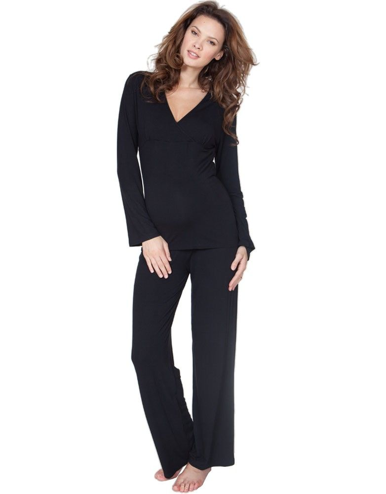 97f4dee61d30c Black Bamboo Lounge Maternity Pyjamas | Bun In The Oven | Maternity ...