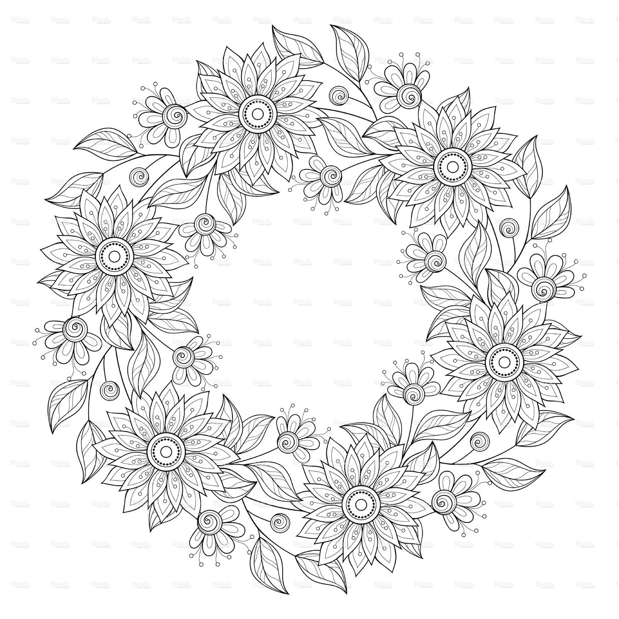 Stock Illustration 76529117 Vector Monochrome Floral Background