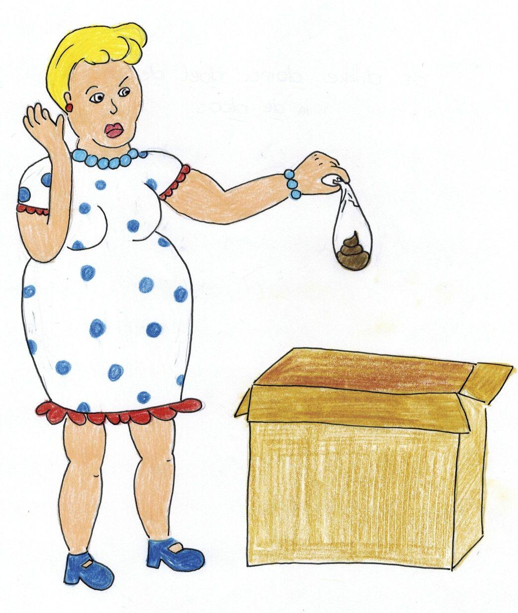 """letter 'd': """"De dikke dame doet de drol in de doos."""" Bij een herhaling over de letter 'd' kan je deze zin op bord schrijven (met de tekening erbij) en de de leerlingen alle 'd's laten aanduiden."""