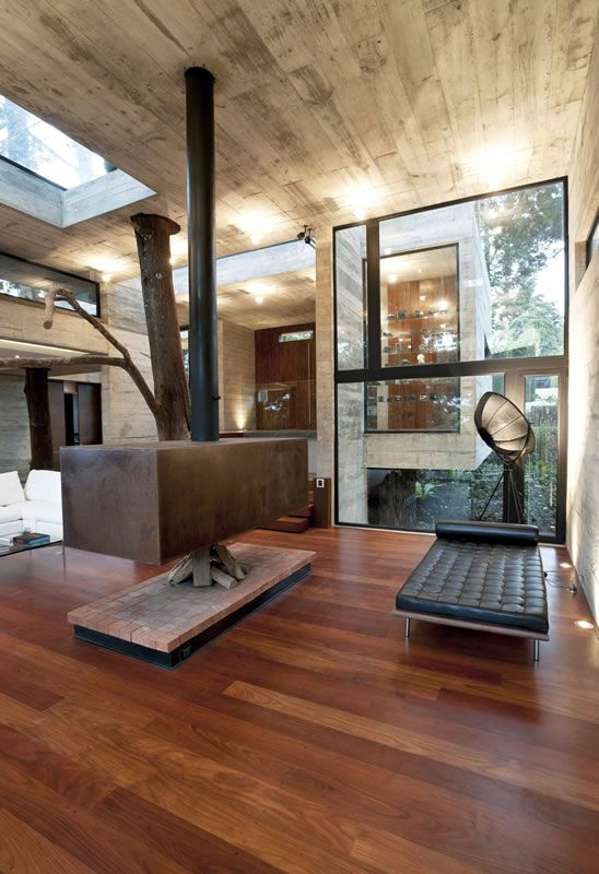 Interior design fireplace hillside retreat architecture  nature guatamala vacation home also rh pinterest