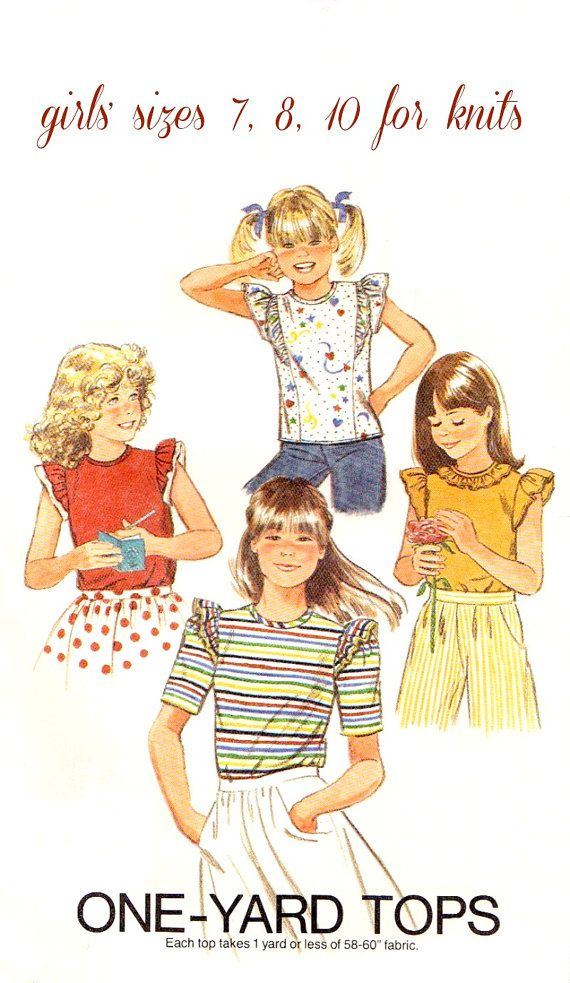 Girls\' UNCUT Knit Tops Vintage Easy Sewing Pattern, Four Looks ...