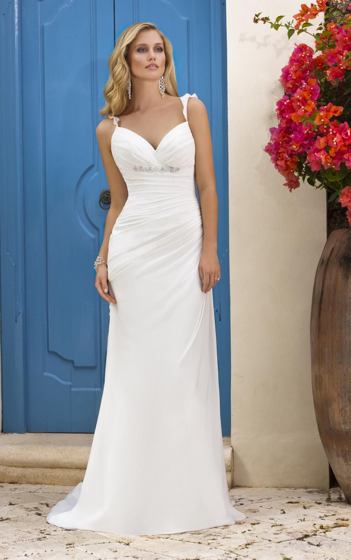 Unique Sleeveless Sheath Ruffled Cascade Open Back Wedding Gown