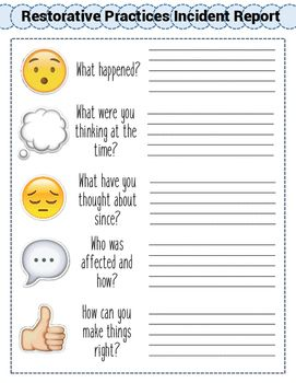 graphic regarding Restorative Justice Printable Worksheets identified as Restorative Behaviors Issues-Accident Post