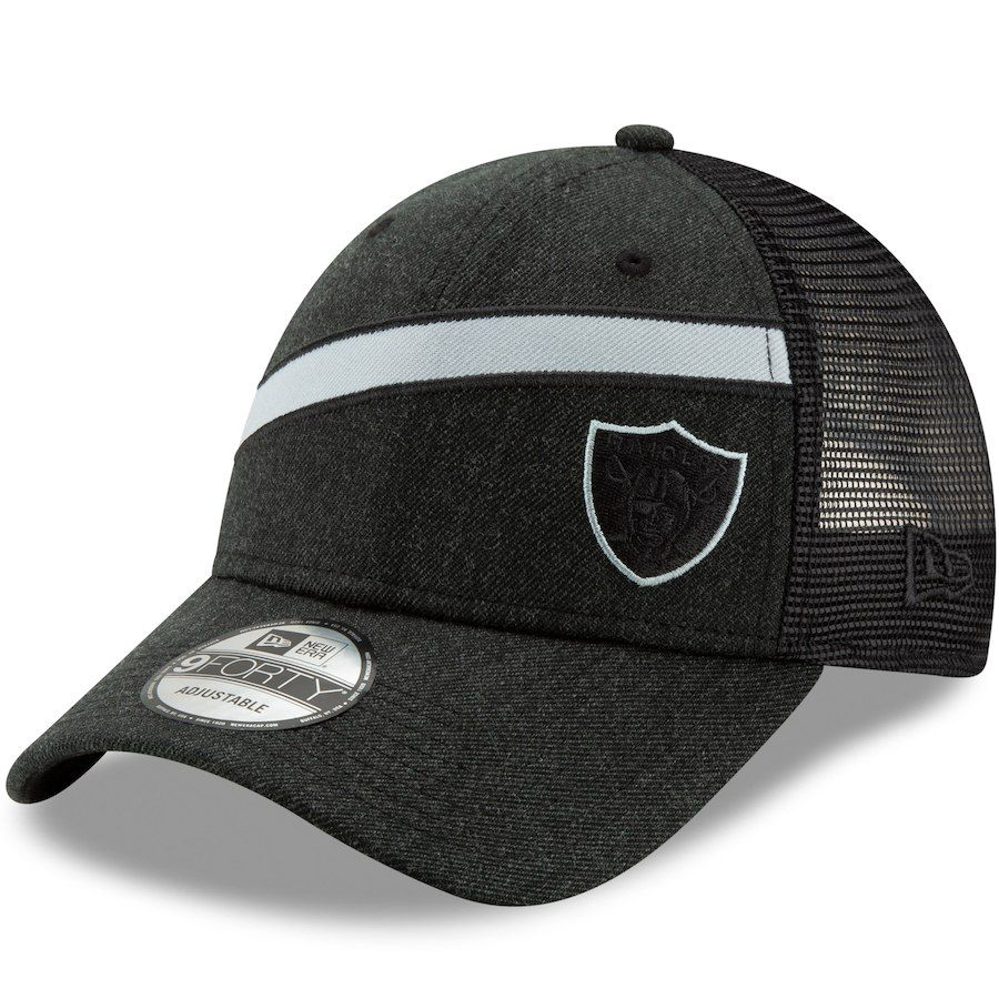 2519bb13052 Men s Oakland Raiders New Era Heathered Black Black Label Scale Trucker  9FORTY Snapback Adjustable Hat