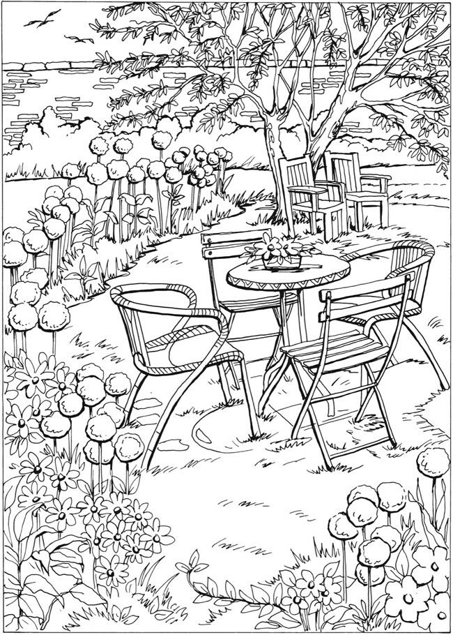 Table With Just Two Chairs Set For Tea Summer Coloring Pages