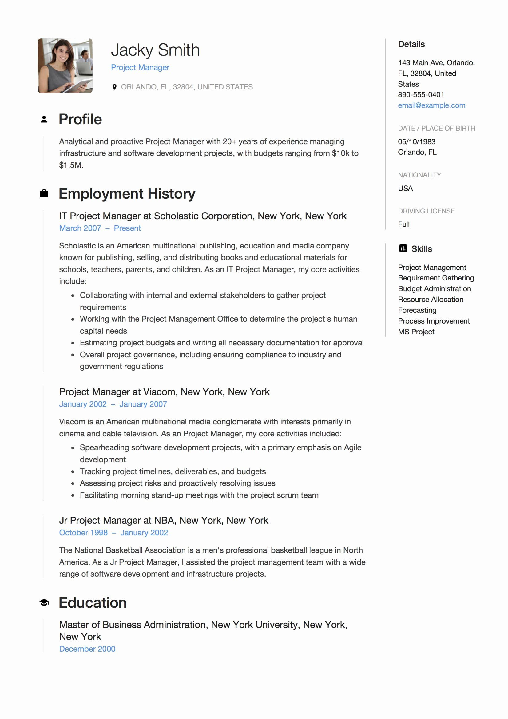 It Project Manager Resume Examples New 12 Project Manager