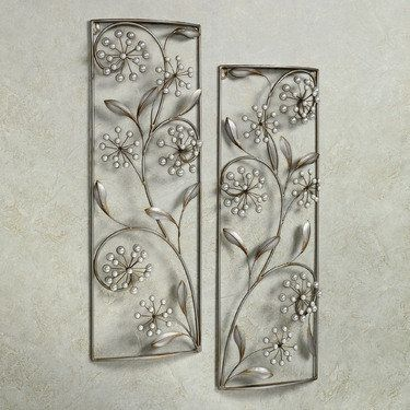 Pearlette Metal Wall Art Panel Set Metal Wall Art Panels Silver Wall Decor Metal Wall Decor
