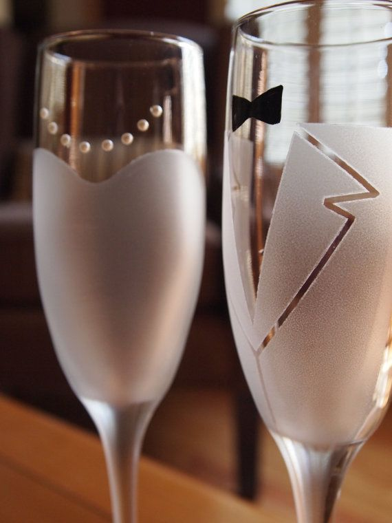 Bride and Groom Frosted Champagne Glasses by JLeighR on Etsy, $30.00