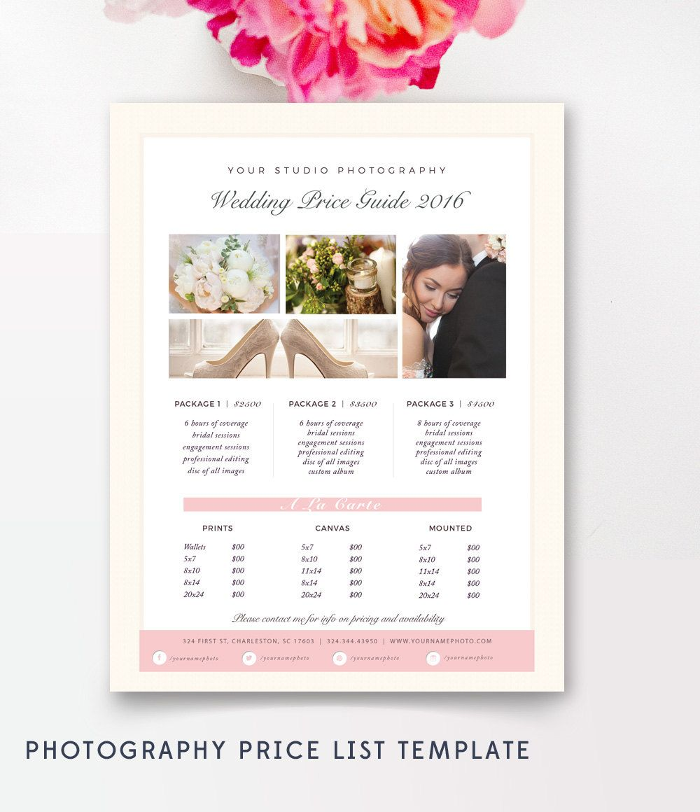 Photography Price List Template  Pricing Sheet Guide  Wedding