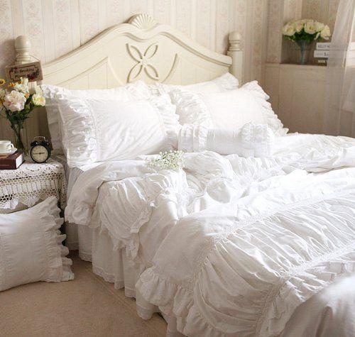 Fadfay Home Textile White Ruffle Bedding Set Luxury Beautiful