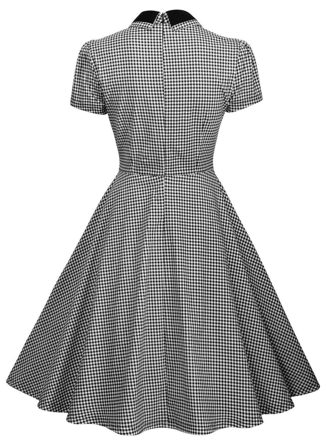 5e7b49d44c75 Missmay Womens Elegant Vintage 1940s Short Sleeve Plaid Swing Dress Gray  Large >>> Visit the image link more details.-It is an affiliate link to  Amazon.