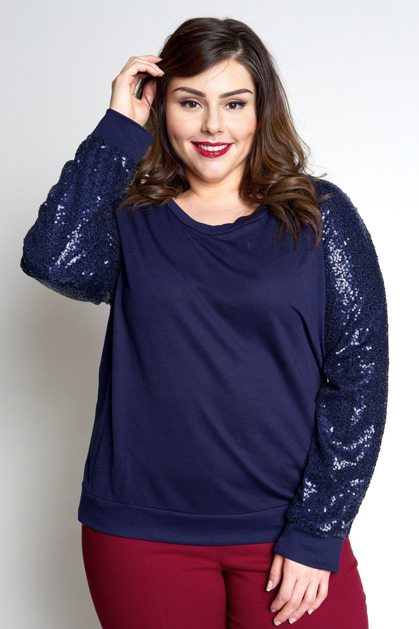 Plus size clothing for women jessica kane sequined sweater navy