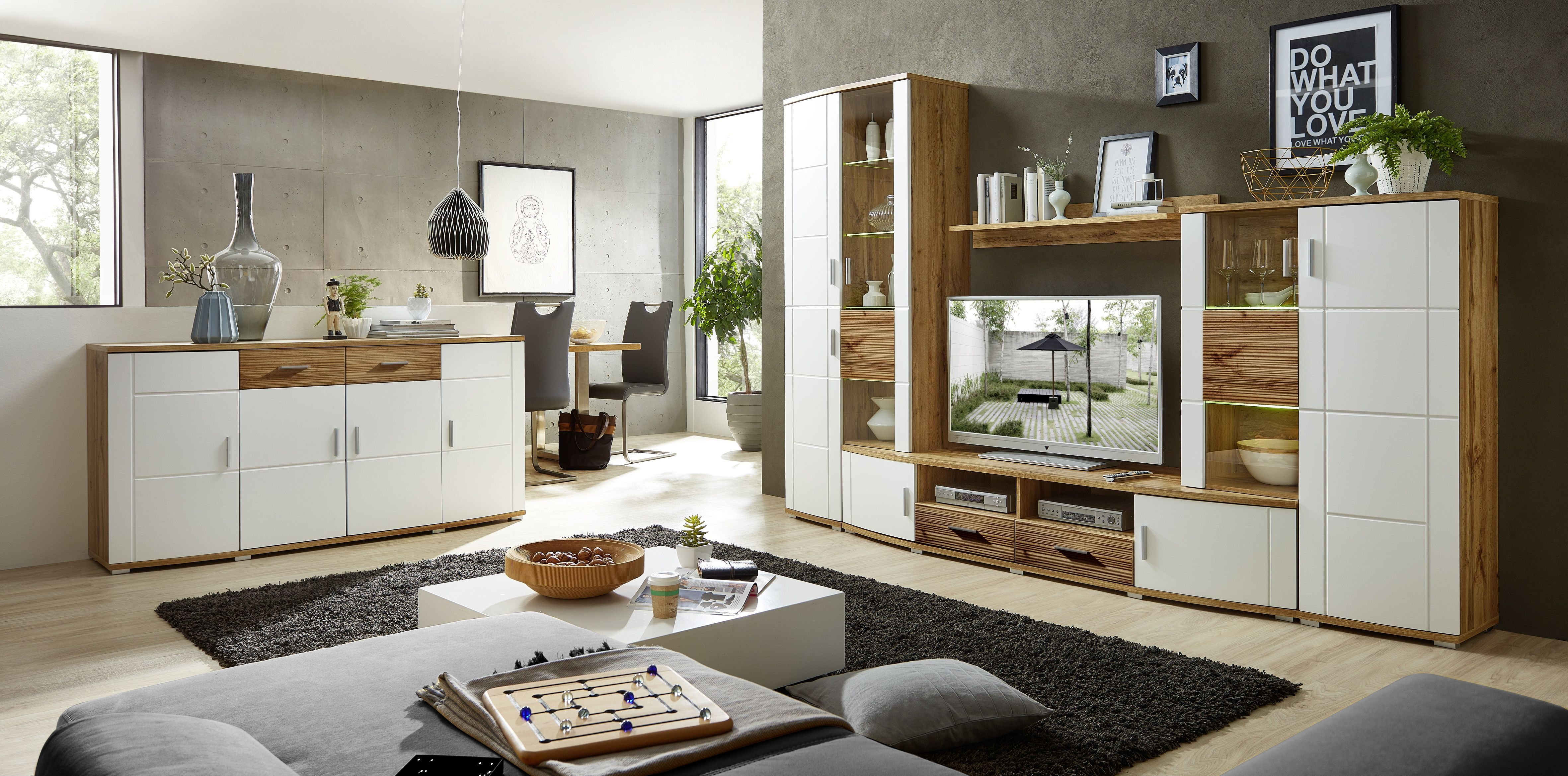 Wohnwand Mit Sideboard Weiss/ Eiche Altholz Geriffelt Und Beleuchtung Woody  22 01168 Modern Jetzt