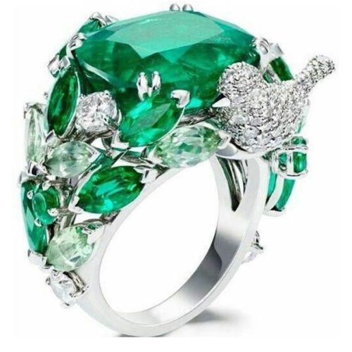 925 Emerald 6.8CT Wedding 6-10 Fashion Size Ring Women Jewelry Frog Silver