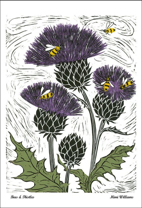 Card or Poster Bees & Thistles, Thistles Bees Poster or Card, Flowers Bees…