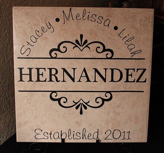 Custom Ceramic Tile 12x12. Family Name Tile by myposhcreations ...