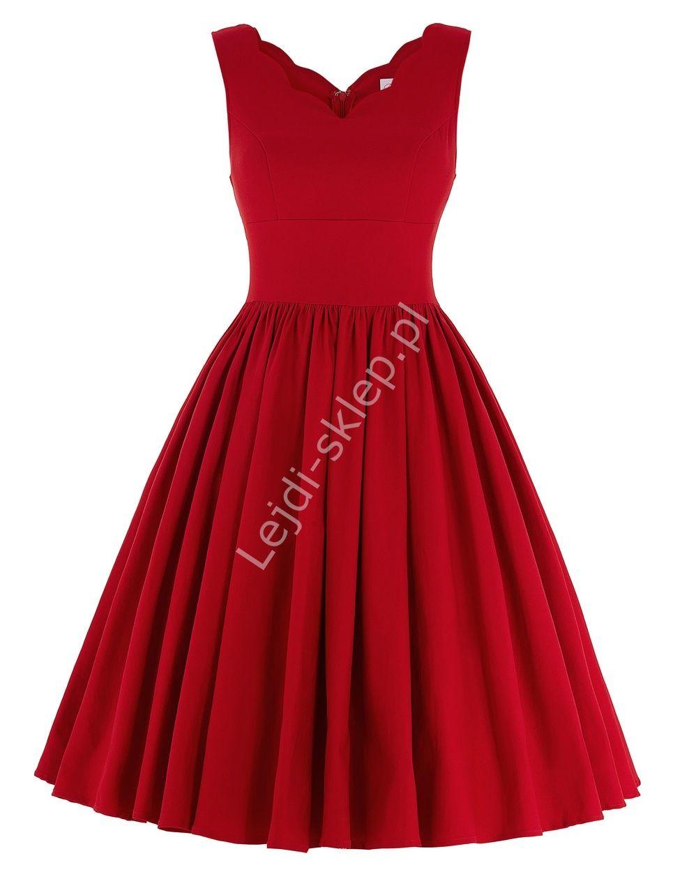 Czerwona Rozkloszowana Sukienka Z Falistym Wykonczeniem Dekoltu Sukienka Lata 60 Te 70 Te 80 Te Dresses Formal Dresses Outfits