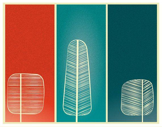 Mid Century Trees Print Poster modern minimal door noodlehug