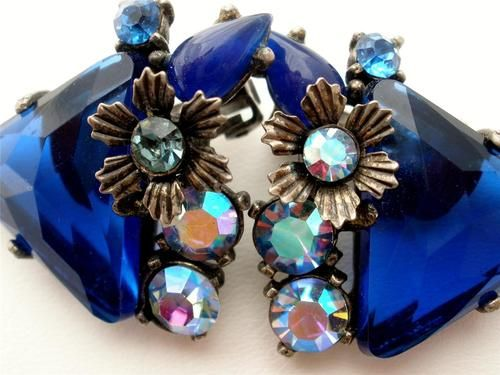 Sapphire Blue Prong Set Rhinestone AB Aurora Borealis Silver Earrings Vintage | eBay