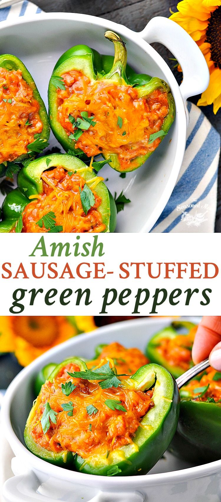 Amish Sausage Stuffed Green Peppers Recipe Stuffed Peppers Stuffed Green Peppers Cooking For A Crowd