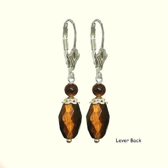 Brown Rice Tiger Eye Gemstones 925 Silver Vintage Earrings, Healing Chakra…