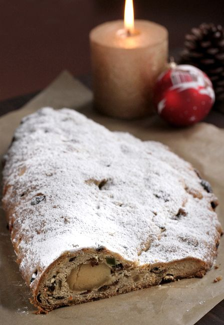 stollen german christmas cake with marzipan