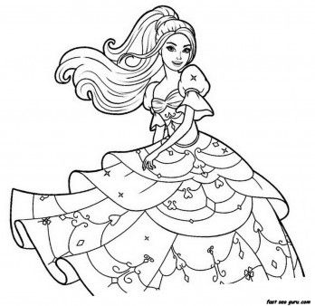 Free Print Out Barbie Beautiful Dress Coloring Pages Printable Up Game For