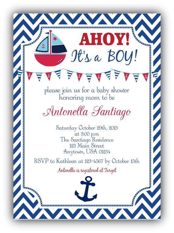 Ahoy Its A Boy   Nautical Baby Shower Invitation   Red White And Blue On  Etsy