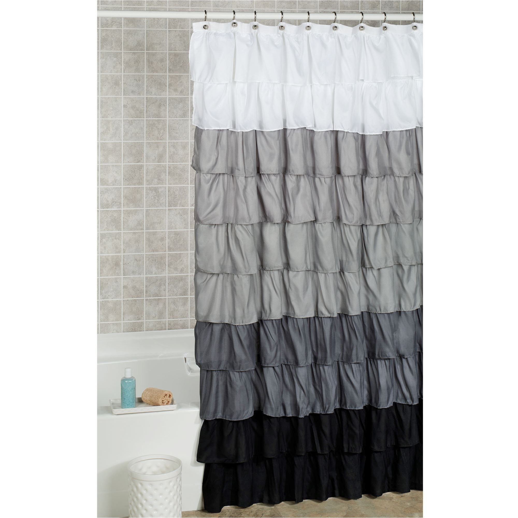 Grey Bathroom Ideas With Shower Curtain In 2020 Ruffle Shower
