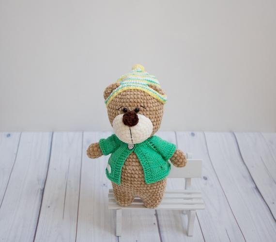 Stuffed teddy bear plush toy Little bear coffee brown color Crochet bear amigurumi Ecco friendly toy knitted bear nursery decor baby room