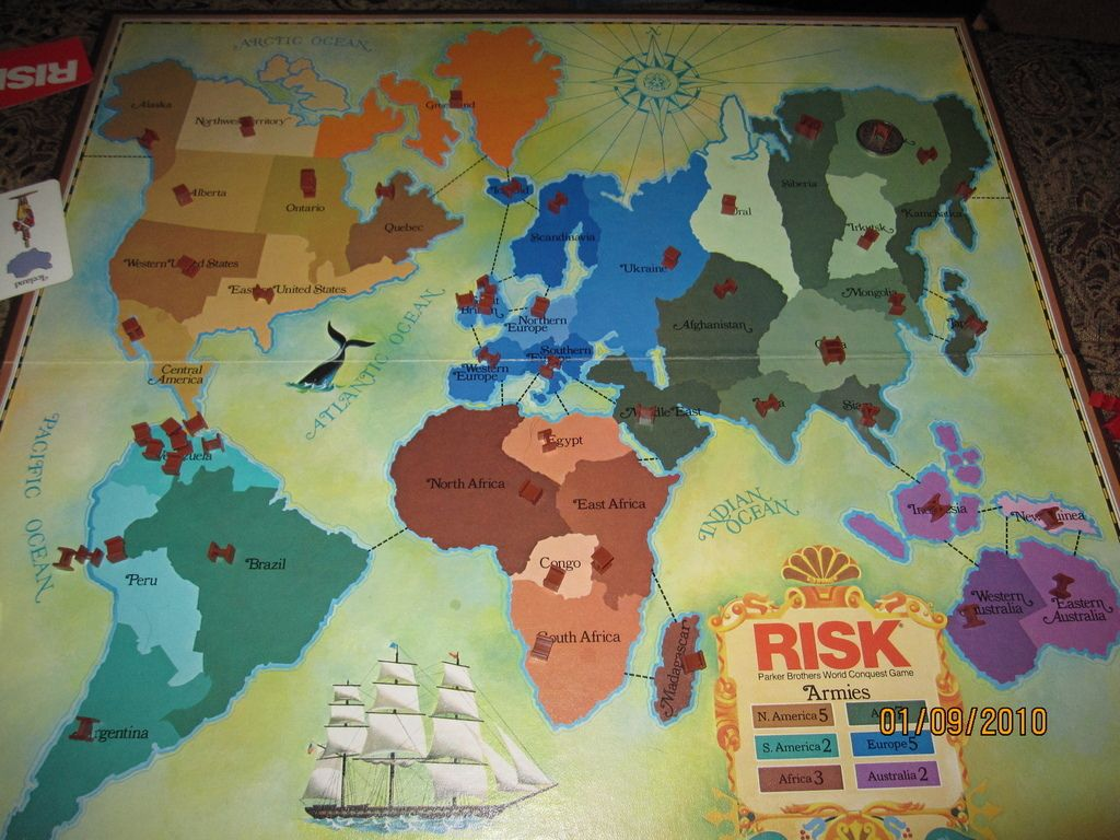 Risk A version of the board from the 1980's, boy does