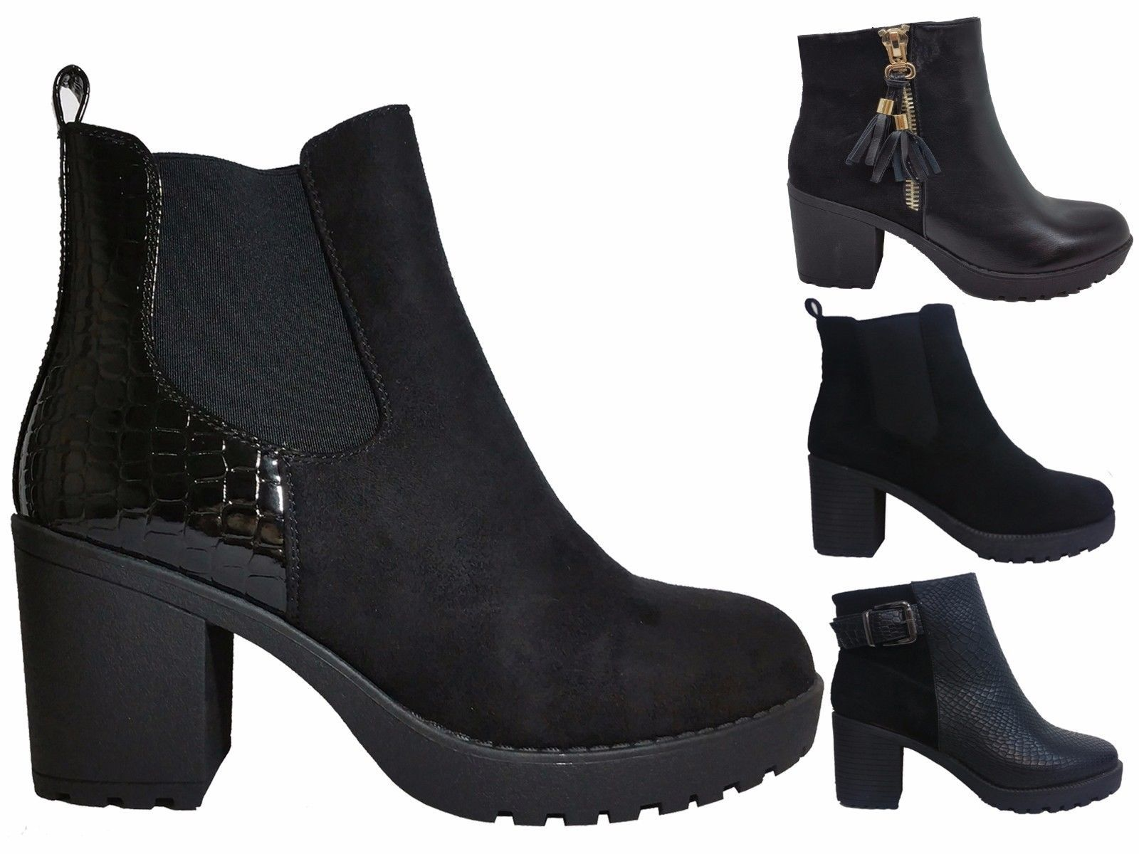 Womens ladies new chelsea #chunky #block heel grip sole winter ...