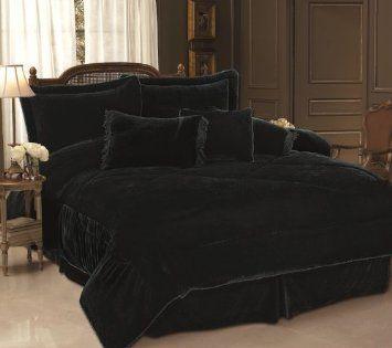 Amazon Com 7pc Black Velvet Comforter Set Bed In A Bag Queen Home Kitchen Black Velvet Bed Black Comforter Velvet Bed