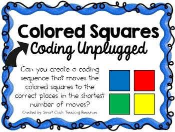 Color Squares ~ Coding Unplugged Challenge ~ STEM | Coding