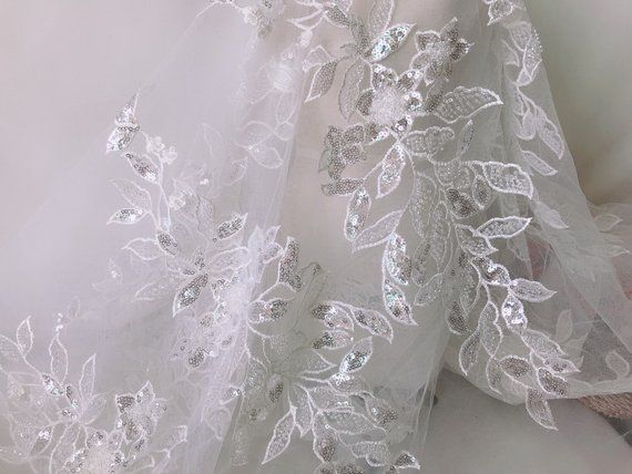 Pearls beaded applique fabric off white flower embroidery on