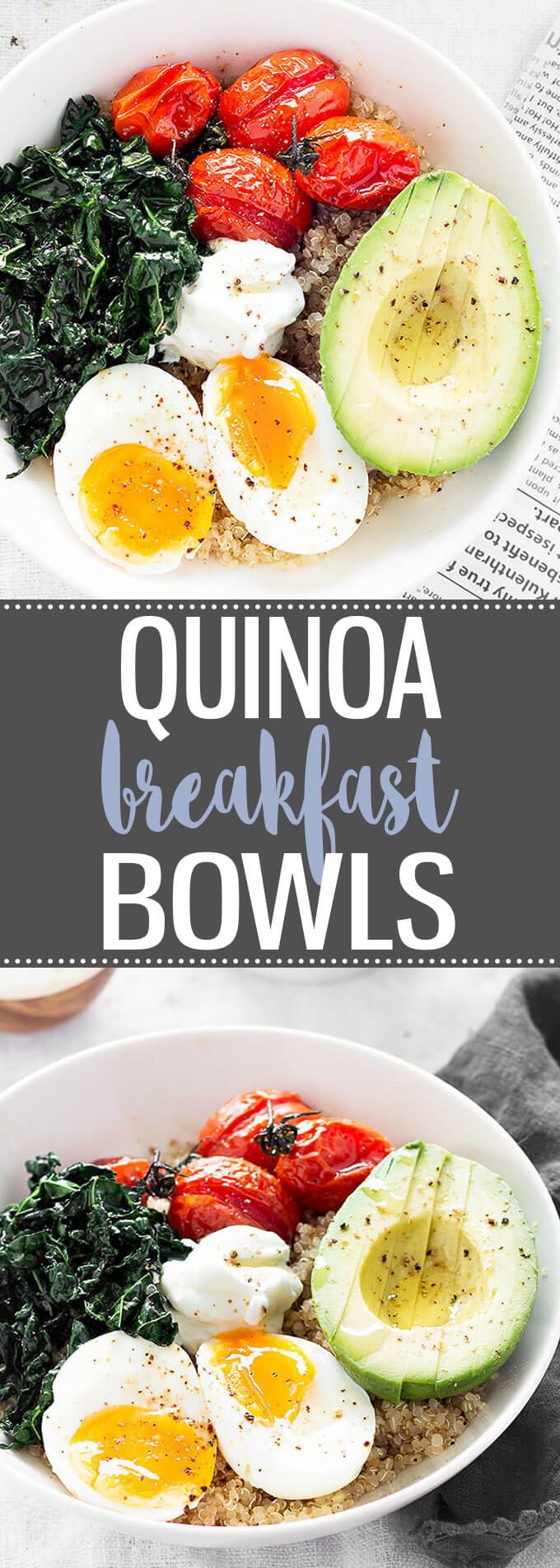 Savory Quinoa Breakfast Bowls - A hearty and healthy breakfast bowl great for breakfast, brunch, or