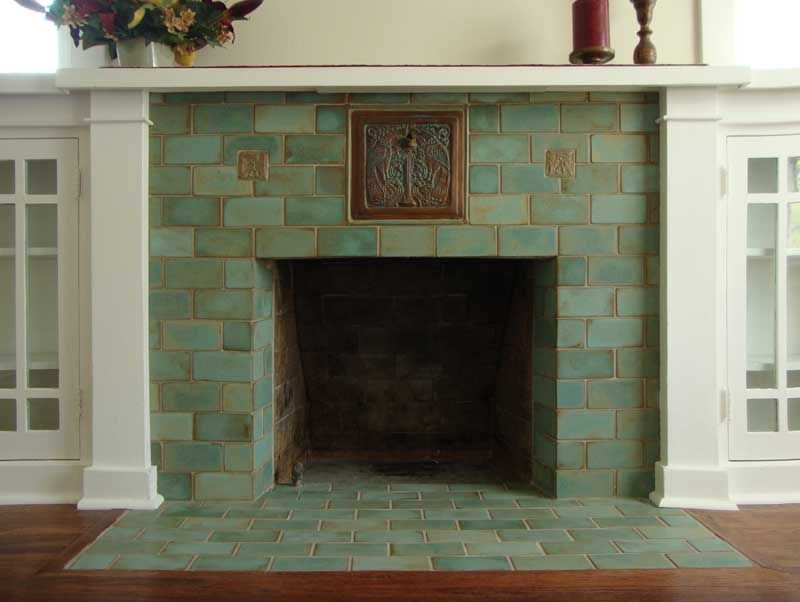Revival hearths fireplace surrounds craftsman and bungalow for Arts and crafts tile fireplace